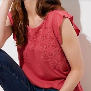 LOFT Flutter Sleeves Embroidered Top Super Soft!